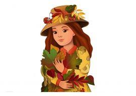 Девушка-осень. Картинка для распечатывания в А3 формате. Часть 1