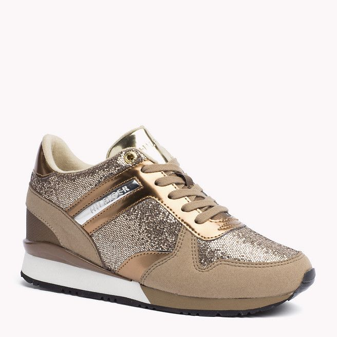 Taupe Gold Glitter Sneakers