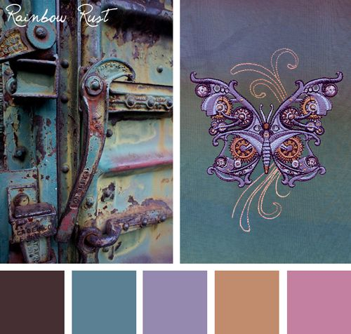 Try this colorful but subtle Rainbow Rust color scheme out on your embroidery designs.