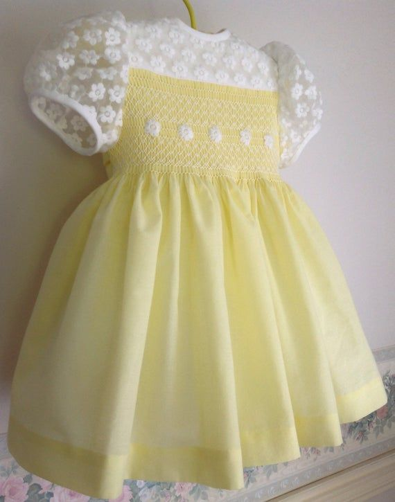 Elisabelle My Pretty Little Spring Dress For Little Girls Ready To Ship In Size 1 12 Months A Pret In 2020 Baby Frocks Designs Hand Smocked Baby Dresses Baby Dress