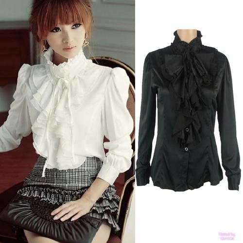 Black or White Frilly Tunic Ladies Victorian Ruffle Top Shirt Blouse