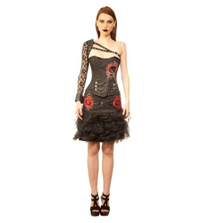 Black Gothic Corset Dress | Skull Corsets | Plus Size Corset Dress