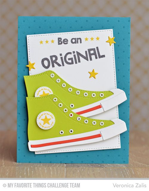 Be Original, Swiss Dots Background, All-Star High Tops Die-namics, Stitched Rectangle STAX Die-namics - Veronica Zalis #mftstamps