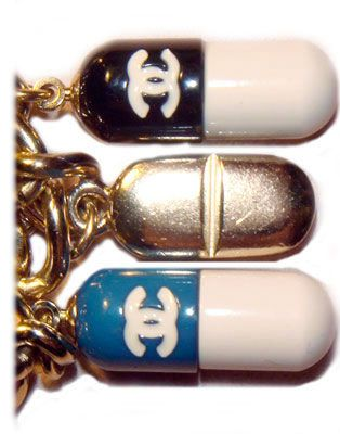 Take a pill! chanel: Chocolates Trifles, Fashion Style, Chanel Pills, Couture, Black White, Charms Bracelets, Necklaces, Medicine, Happy Pills