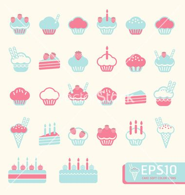 Cup cake soft color vector