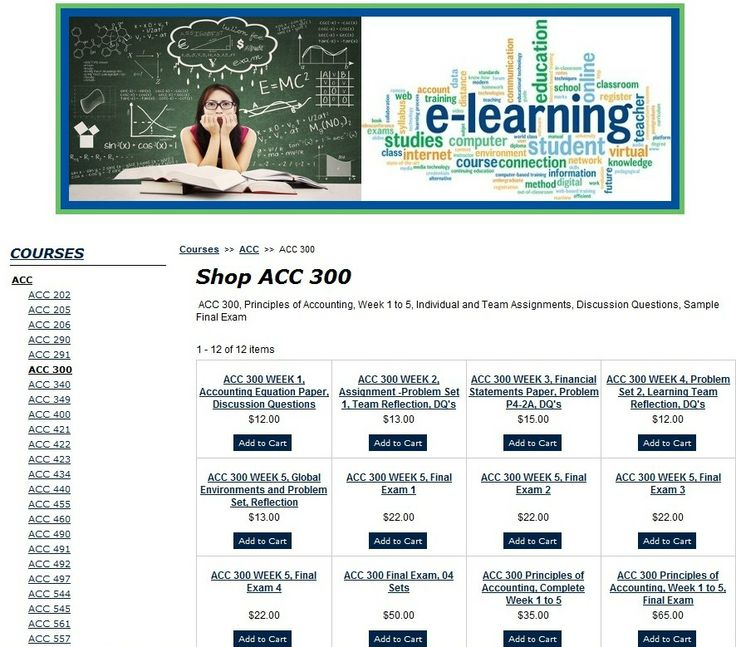 ACC 300 Principles of Accounting, Week 1 to 5, Final Exam
