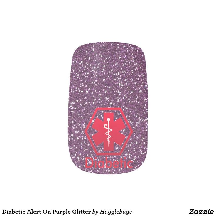 Diabetic Alert On Purple Glitter