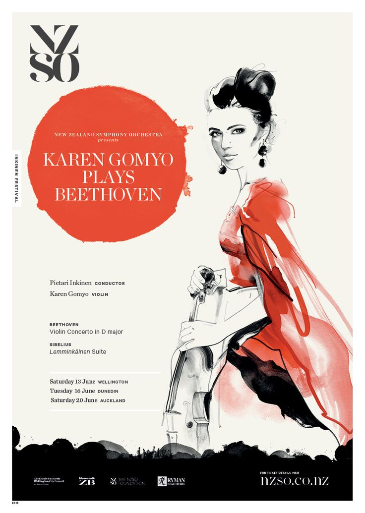 Karen Gomyo plays Beethoven 13 - 20 June 2015. Acclaimed violinist Karen Gomyo reunites with Music Director Pietari Inkinen to make her debut performance with the NZSO.  She will perform Beethoven's treasured Violin Concerto, widely considered one of the pinnacles of a violinist's repertoire. https://www.nzso.co.nz/concerts/concert/karen-gomyo-plays-beethoven/