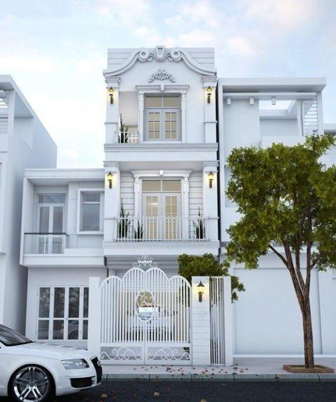 Mẫu thiết kế nhà ống đẹp (nhà lô, nhà phố) 3 tầng 4x20 hiện đại - Mẫu thiết kế nhà ống đẹp 3 tầng, Một tầng được thiế t kế đẹp với 1 phòng ngủ và tầng 2,...