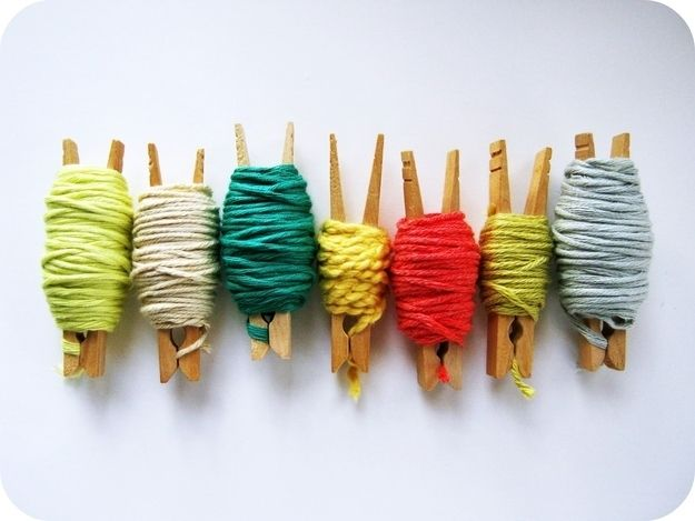 Store and display your yarn on clothespins.