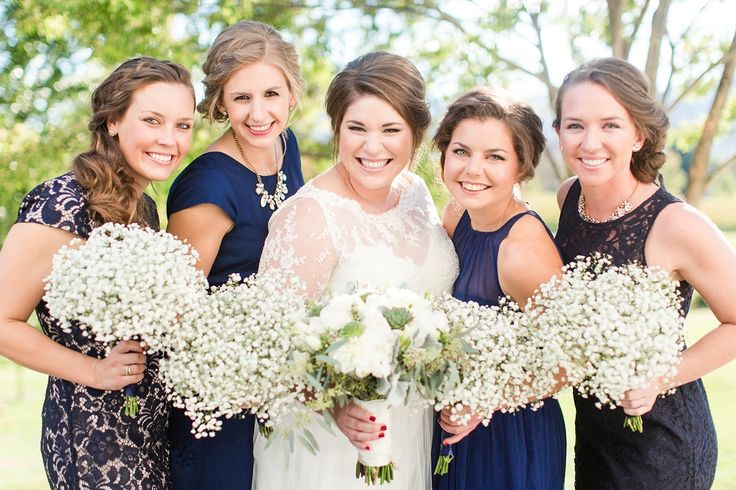 A Veritas Vineyard & Winery Wedding in Charlottesville, Virginia with Navy Bridesmaid Dresses and Baby's Breath Bouquets | Photos by Katelyn James Photography