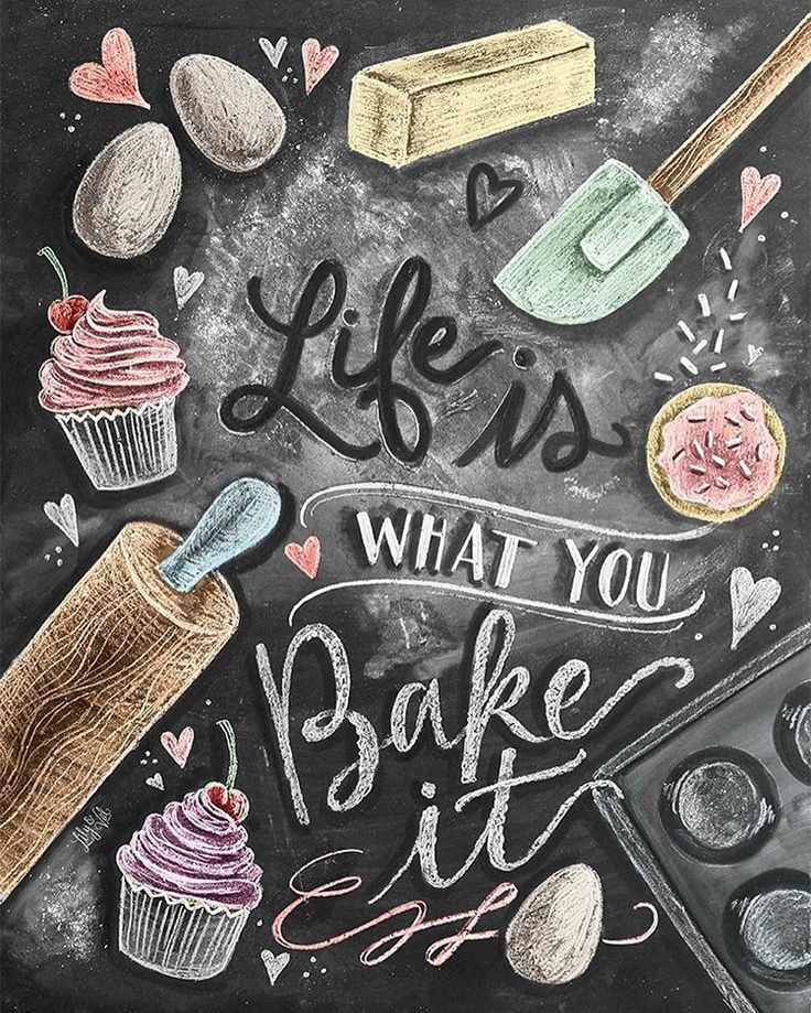 """""""Here is the finished design for my baking lovers!! It's up in the @lilyandval shop along with another new kitchen print! (Link in profile.) #chalkart…"""""""