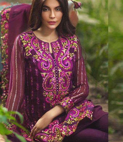 Mina Hasan Embroidered Chiffon Suits Collection 2016 Volume-2 MH_5