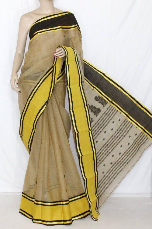 Fawn Yellow Handwoven Bengali Tant Cotton Ganga-Yamuna Border Saree (Without Blouse) 14129