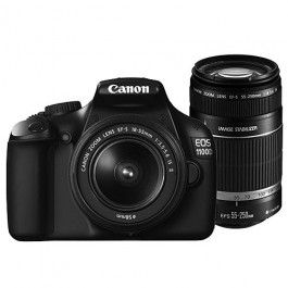Canon EOS 1100D Digital SLR Camera with 18-55mm and 55-250mm Double Lens Kit only £314.00.