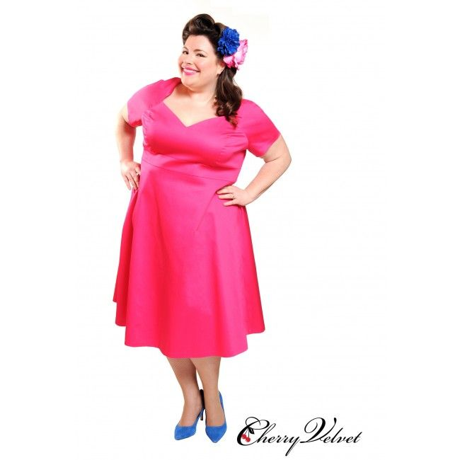 Annette Fuschia dress - This dress has a sweetheart neckline that looks good on everyone, but especially on curvy girls like you! Impress your girlfriends or party date with this simple cut but yet stunning frock. The best part of the is dress is the POCKETS! - See more at: http://www.sweetechoplus.com  #CherryVelvetPlus #Rockabilly #PinUp #BBWFashion #SweetEchoPlus