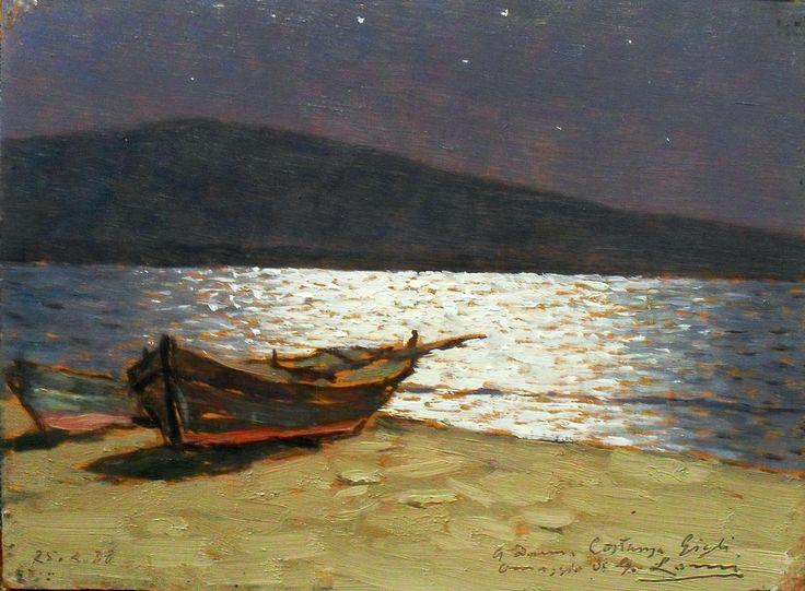 Giovanni Lomi Notturno sul lago (Moonlight on the Lake) Olio su tavola cm 13x17,3