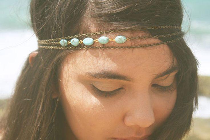 Boho Bronze Chain headband faux turquoise