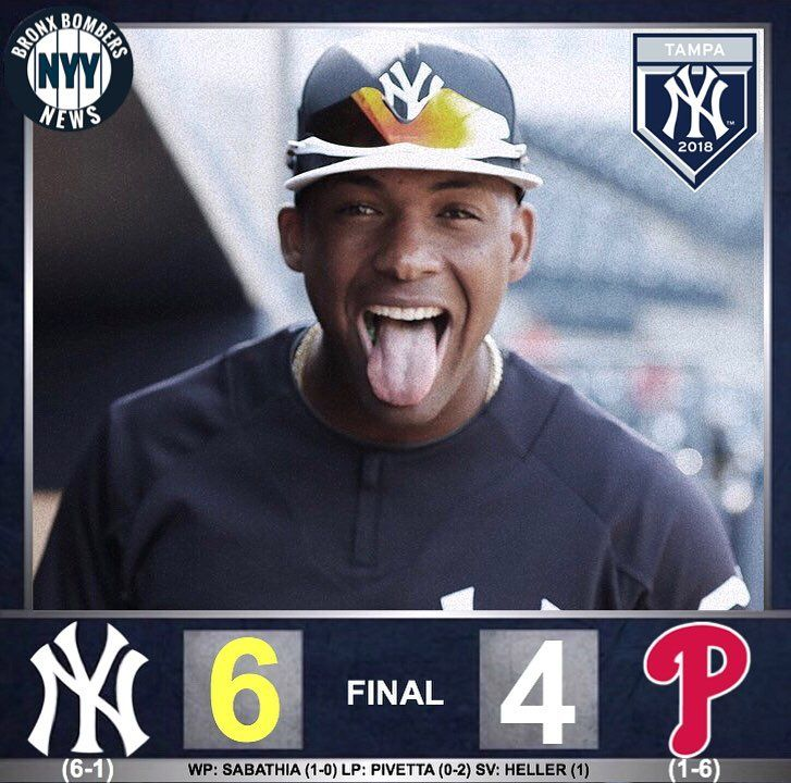 The Yankees win! The Yankees get back in the win column after defeating the Phillies by a final score of 6-4!! C.C. Sabathia started the game and made his Spring Training debut and tossed two scoreless innings. Heres his final line: 2.0 IP 0 H 0 R 0 ER 0 BB 3 SO. Domingo German came in and threw three innings and allowed a run on a solo home run. He pitched pretty good just made one mistake. Wade LeBlanc allowed a run in his two innings of work. Giovanny Gallegos struggled with his command…