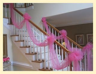 Tulle on the staircase is easy and adds so much for a birthday party! https://www.retailpackaging.com/products/2692-tulle #DIY #décor