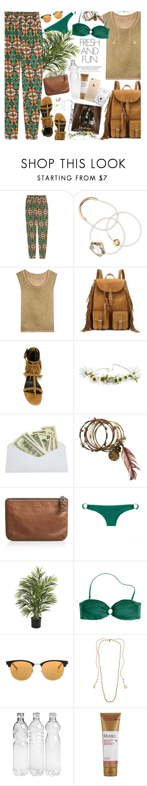 """""""Packed For Coachella: Weekend 1 Night 1"""" by hollowpoint-smile ❤ liked on Polyvore featuring Yves Saint Laurent, Cult Gaia, Jigsaw, J.Crew, Nearly Natural, Chan Luu, Murad and Nikon"""