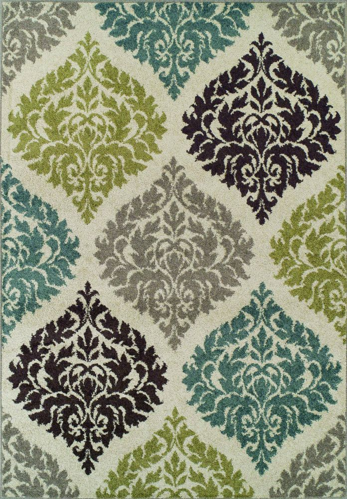 Premium Modern Transitional Area Rug Soft Damask Carpet Ivory Exact Size X