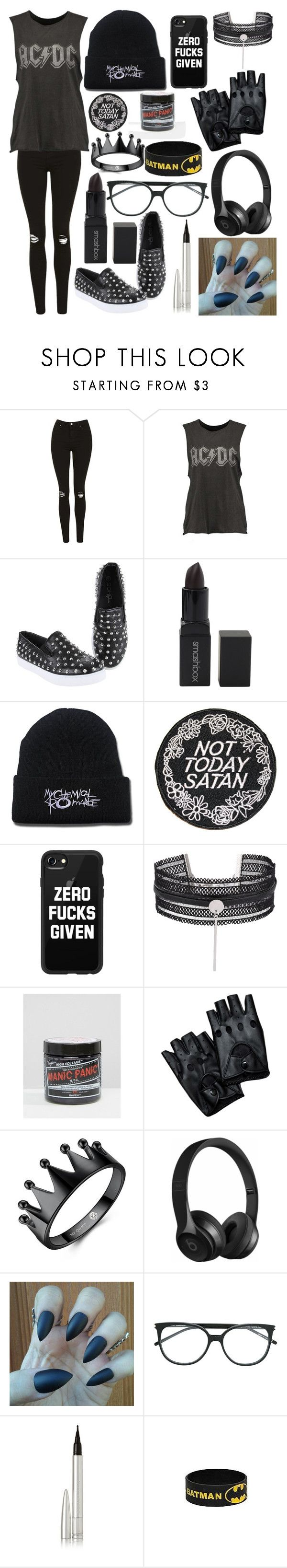 """Emo Tag #2"" by anamariarox ❤ liked on Polyvore featuring Topshop, Hot Topic, Smashbox, Rupaul, Casetify, Manic Panic NYC, Beats by Dr. Dre, Yves Saint Laurent and Ellis Faas"