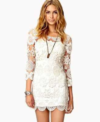 Crochet Lace Mini Dress from Forever 21 || Get 4% cash back - http://www.studentrate.com/all/get-all-student-deals/Forever21-Student-Discounts--/0