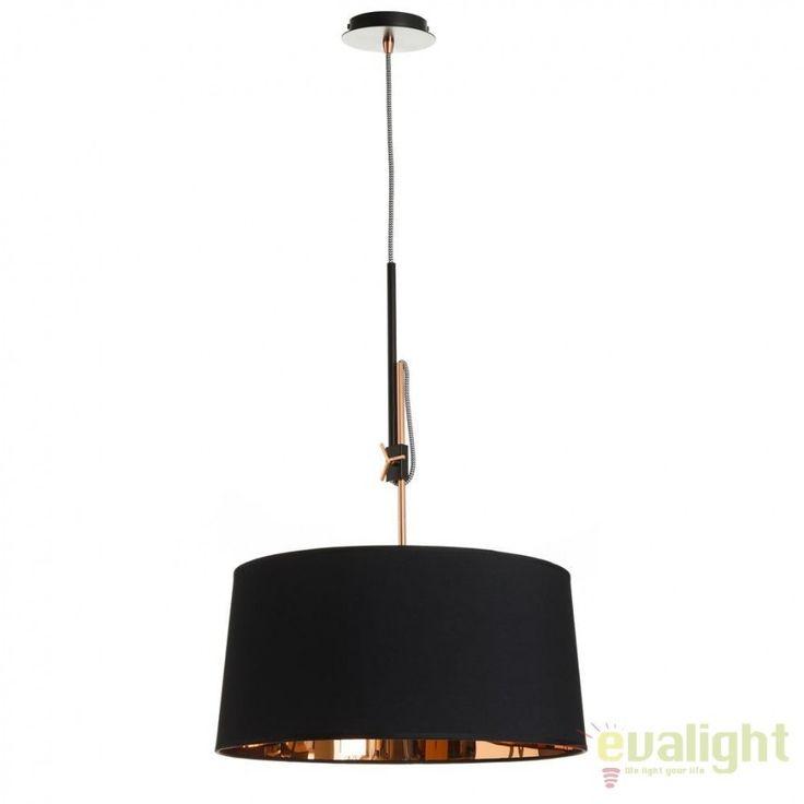 Lustra din metal finisaj cupru si tesatura neagra, Corrin 45cm SX-92290 - Corpuri de iluminat, lustre, aplice