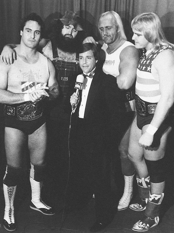 Bob Costas interviewing Mike Rotundo, Hillbilly Jim, Hulk Hogan and Barry Windham.