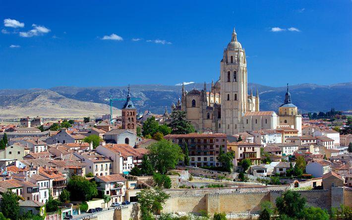 Lataa kuva Segovian Katedraali, 4k, Katolinen katedraali, kesällä, Goottilainen arkkitehtuuri, Segovia, Espanja, maamerkit
