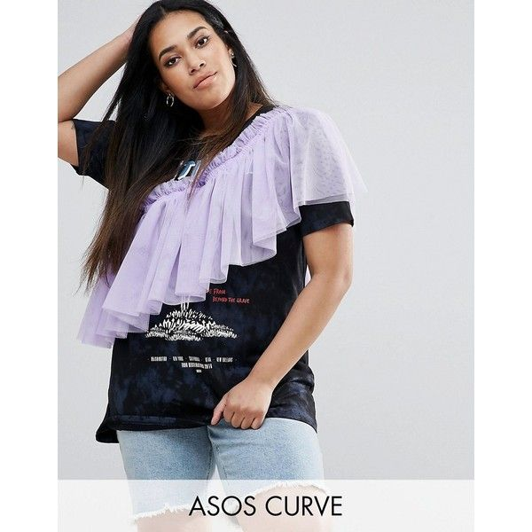 ASOS CURVE T-Shirt with Washed Band Print and Exaggerated Ruffle ($20) ❤ liked on Polyvore featuring tops, t-shirts, multi, plus size, women's plus size tops, plus size t shirts, crew neck t shirt, long line tees and women's plus size graphic tees