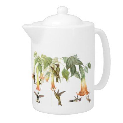 Tropical Hummingbird Birds Animals Flowers Teapot - kitchen gifts diy ideas decor special unique individual customized