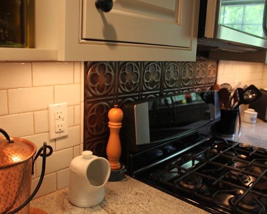Tin backsplash just behind the stove my new house - Ideas for backsplash behind stove ...