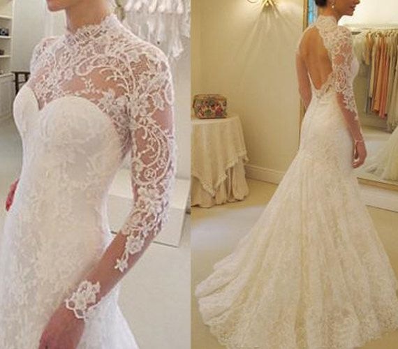 Custom made ivory vintige open back gorgeous lace wedding dress trumpet skirt long sleeves bridal dress with chapel train: