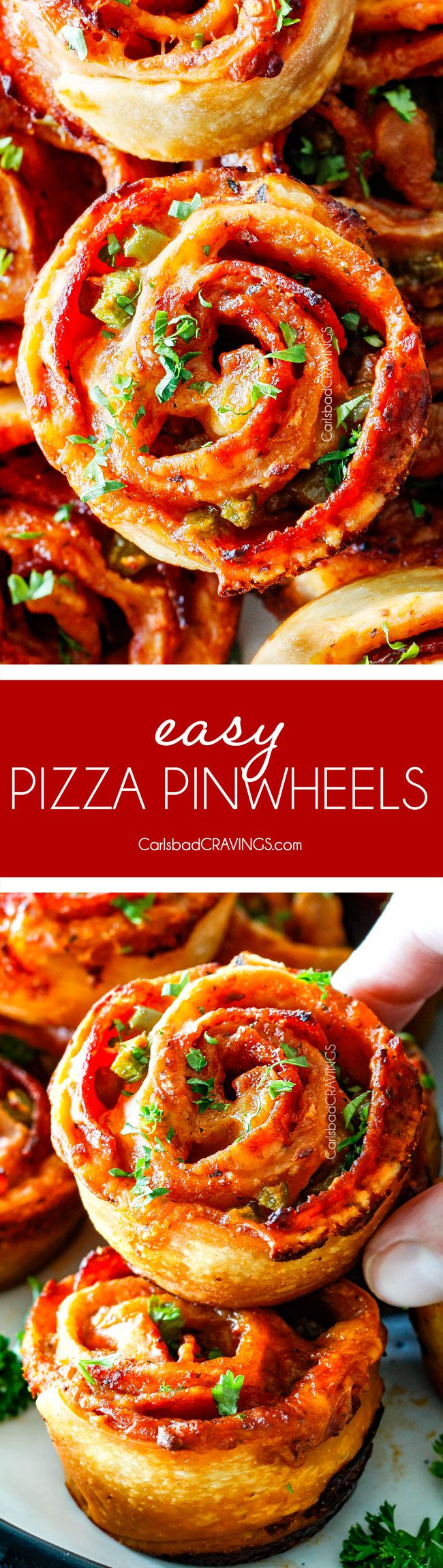 These Pizza Pinwheels are super easy to make, customizable, freeze beautifully, and absolutely irresistible for snacks, appetizers or fun meals! You friends and family will beg you to make these! via @carlsbadcraving