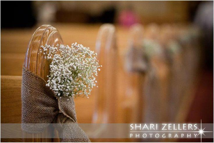 Burlap And Babys Breathe Pew Bows Wedding Ideas