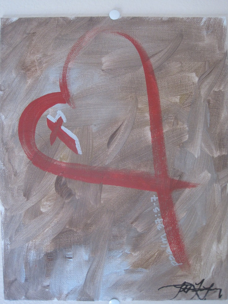 brown strokes red heart canvas painting