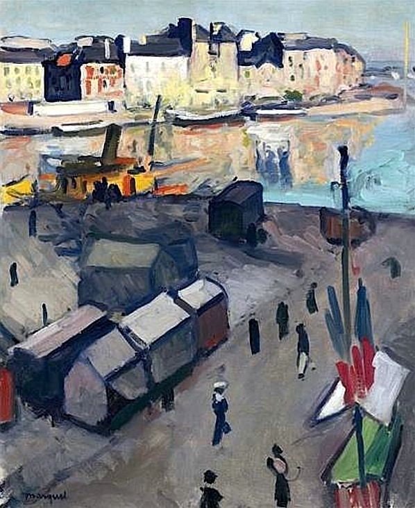 Port du Havre.  Albert Marquet went to Paris at the early age of fifteen to begin a thorough training as an artist. Albert Marquet studied at the Ecole des Beaux-Arts, where he met Henri Matisse in 1890. Matisse became a life-long friend