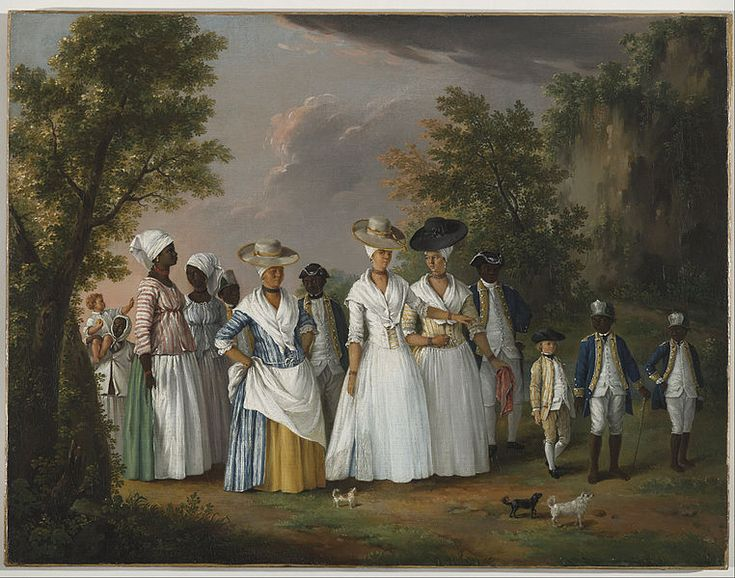 While writing the book I spent a lot of time looking at people of colour in historical settings. This is Agostino Brunias, Free Women of Color with their Children and Servants in a Landscape.