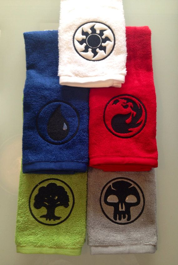 Magic the Gathering embroidered towels FULL SET on Etsy, $45.00
