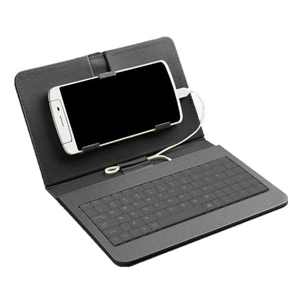 General Wired Keyboard Flip Holster Case For Android Mobile Phone 4.2\'\'-6.8\'\'