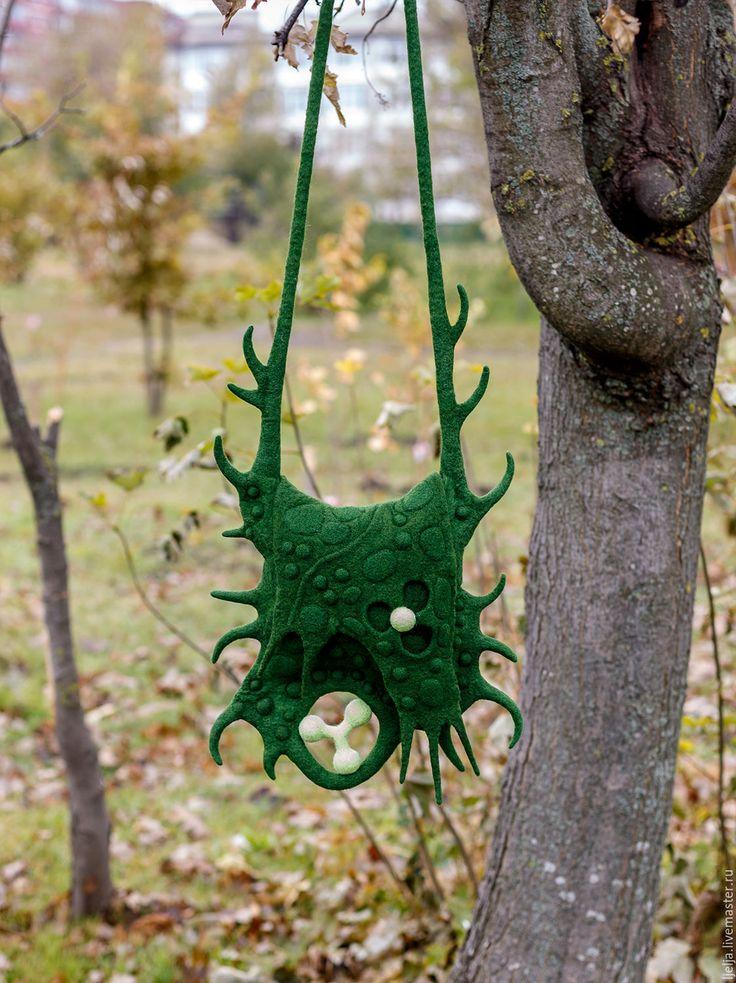 "Купить Сумка валяная ""Зеленая геометрия"" - тёмно-зелёный, абстрактный, валяная сумка, зеленая сумка"