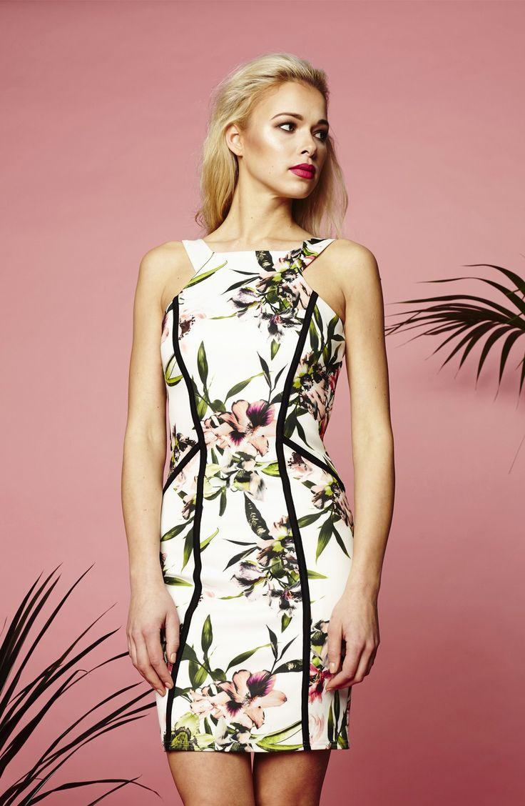 Leona Bodycon Dress- Tropical floral print
