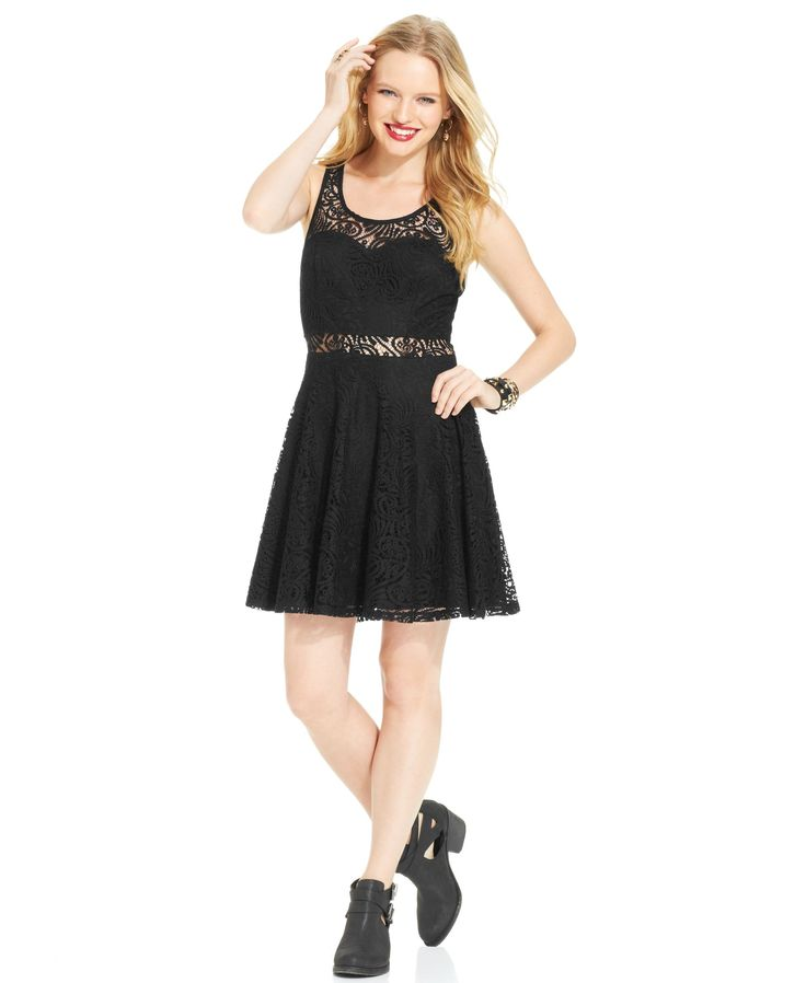 American Rag Lace Illusion Skater Dress
