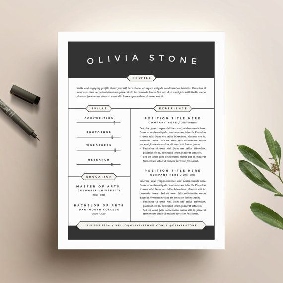 Creative Resume Template and Cover Letter Template for Word | DIY Digital Download | Modern and Professional Two Page CV Design