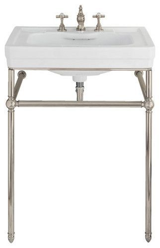 $649.95 Lutezia 28 Inch Console Lavatory Sink by Porcher I love everything from the Porcher Lutezia collection. It just has that perfect vintage styling - not too fussy and perfectly proportioned. I know everyone worries about losing storage when doing a console or pedestal over a cabinet, but it's so worth it! It makes the space seem so much larger.