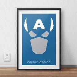Kolorowy plakat z wizerunkiem Kapitana Ameryki - bohaterem komiksów