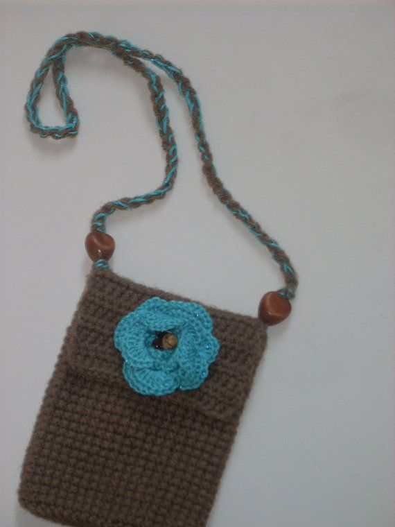 crochet phone purse coffee latte w turquoise by tinaswaycrochet, $20 ...