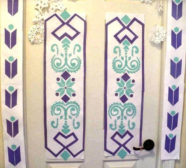 Free Disney #Frozen Printables - Recreate Elsa's door using this free pattern.